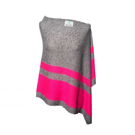 Lestere Mid Grey/Neon Pink Stripes Poncho