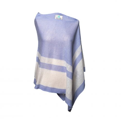Lestere Ice Blue/Organic White Stripes Poncho