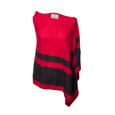 Lestere Brick Red/Charcoal Stripes Poncho