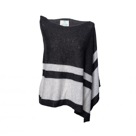 Lestere Charcoal/Super Grey Stripes Poncho