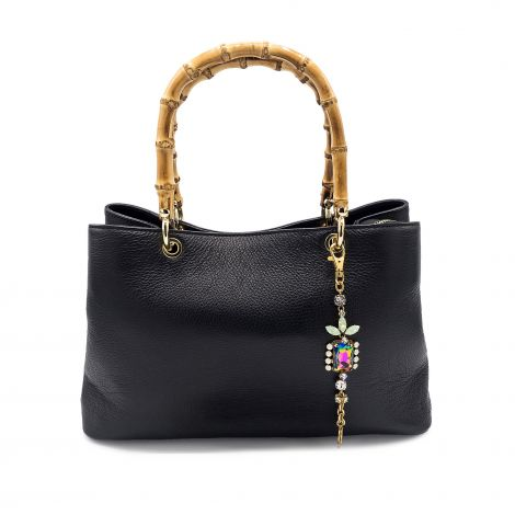 Lestere Veneto Black Handbag with Lestere color Bracelet Charm