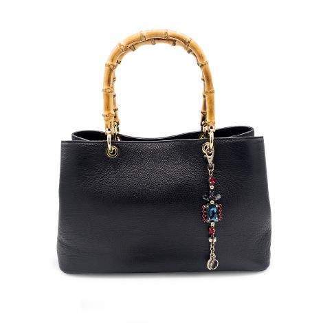 Lestere Veneto Black Handbag with Winter Mix color Bracelet Charm
