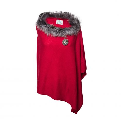 Lestere Brick Red Fur Poncho with Summer Mix color Baroqco Brooch