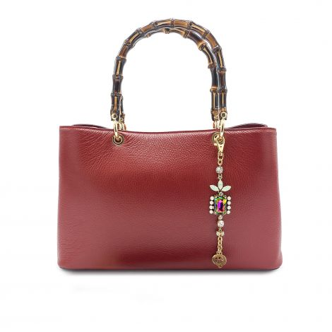 Lestere Veneto Bordeaux Handbag with Lestere color Bracelet Charm.