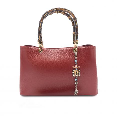 Lestere Veneto Bordeaux Handbag with Summer Mix color Bracelet Charm.