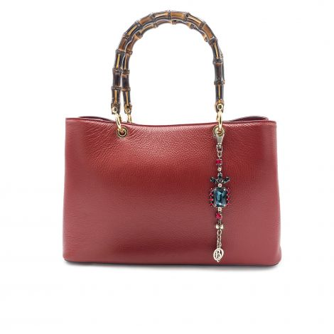 Lestere Veneto Bordeaux Handbag with Winter Mix color Bracelet Charm