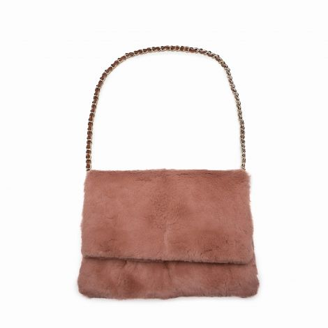 Mira Sayogo rabbit fur Clutch with Lestere Color Baroqco Brooch